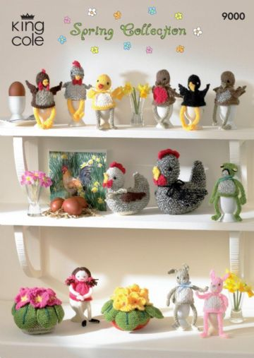 King Cole Knitting Pattern 9000 : Spring Collection -Primroses, chicks, hens , birds , egg cosies